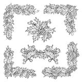 Διανυσματικό σύνολο γραπτών στοιχείων σχεδίου μούρων ελαιόπρινου Στοκ Εικόνες