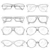 Διανυσματικό σύνολο γυαλιών σκίτσων Eyeglass πλαίσια απεικόνιση αποθεμάτων