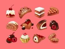 Διανυσματικό σύνολο γλυκών εικονιδίων Στοκ Εικόνα