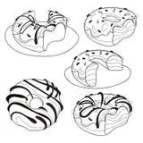 Διανυσματικό σύνολο γλυκών donuts Συλλογή του τυποποιημένου ψησίματος Γραπτό σχέδιο γραμμική τέχνη κέικ Στοκ Εικόνες