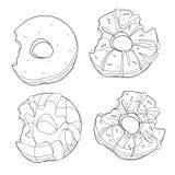 Διανυσματικό σύνολο γλυκών donuts Συλλογή του τυποποιημένου ψησίματος Γραπτό σχέδιο γραμμική τέχνη κέικ Στοκ Φωτογραφίες