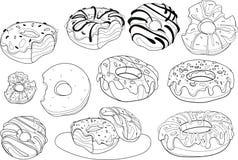 Διανυσματικό σύνολο γλυκών donuts Συλλογή του τυποποιημένου ψησίματος Γραπτό σχέδιο γραμμική τέχνη κέικ Στοκ Εικόνα