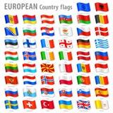 Διανυσματικό σύνολο εθνικών σημαιών της Ευρώπης ελεύθερη απεικόνιση δικαιώματος