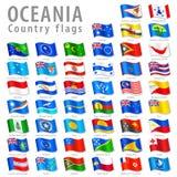 Διανυσματικό σύνολο εθνικών σημαιών Oceanian Στοκ Εικόνα