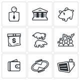 Διανυσματικό σύνολο εικονιδίων ανταλλαγής Ο μεσίτης, τράπεζα, Piggy, χρήματα, Bull και αντέχει, αποσπάσματα, πορτοφόλι, όργανο ελ ελεύθερη απεικόνιση δικαιώματος