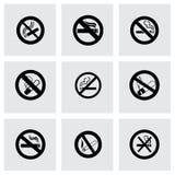 Διανυσματικό σύνολο εικονιδίων απαγόρευσης του καπνίσματος Στοκ Εικόνα