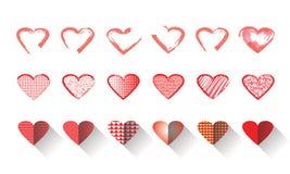 Διανυσματικό σύνολο εικονιδίων απεικόνισης κόκκινης μορφής καρδιών για την ημέρα του βαλεντίνου Στοκ φωτογραφία με δικαίωμα ελεύθερης χρήσης