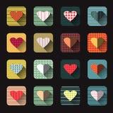 Διανυσματικό σύνολο εικονιδίων απεικόνισης κόκκινης μορφής καρδιών Στοκ Φωτογραφία