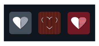 Διανυσματικό σύνολο εικονιδίων απεικόνισης κόκκινης μορφής καρδιών Στοκ Εικόνες