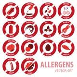 Διανυσματικό σύνολο εικονιδίων αλλεργιών Foor Στοκ φωτογραφία με δικαίωμα ελεύθερης χρήσης