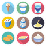 Διανυσματικό σύνολο εικονιδίων γαλακτοκομικών προϊόντων Στοκ φωτογραφίες με δικαίωμα ελεύθερης χρήσης