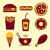 Διανυσματικό σύνολο εικονιδίων γρήγορου φαγητού Στοκ Εικόνα