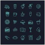 Διανυσματικό σύνολο εικονιδίων γρήγορου φαγητού Στοκ εικόνα με δικαίωμα ελεύθερης χρήσης