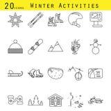 Διανυσματικό σύνολο εικονιδίων γραμμών χειμερινών δραστηριοτήτων Στοκ Εικόνες
