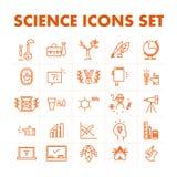 Διανυσματικό σύνολο εικονιδίων επιστήμης που απομονώνεται στο άσπρο υπόβαθρο Στοκ Εικόνες
