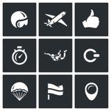 Διανυσματικό σύνολο εικονιδίων ελεύθερων πτώσεων με αλεξίπτωτο Στοκ εικόνα με δικαίωμα ελεύθερης χρήσης