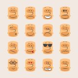 Διανυσματικό σύνολο εικονιδίων διάθεσης και έκφρασης συγκινήσεων προσώπων smiley Στοκ φωτογραφία με δικαίωμα ελεύθερης χρήσης