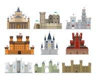 Διανυσματικό σύνολο εικονιδίων κάστρων και φρουρίων απεικόνιση αποθεμάτων