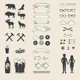 Διανυσματικό σύνολο εικονιδίων και ετικετών για το σχέδιό σας απεικόνιση αποθεμάτων