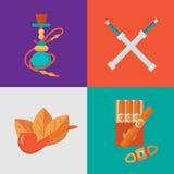 Διανυσματικό σύνολο εικονιδίων καπνού Στοκ εικόνα με δικαίωμα ελεύθερης χρήσης