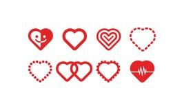 Διανυσματικό σύνολο εικονιδίων καρδιών Στοκ εικόνα με δικαίωμα ελεύθερης χρήσης