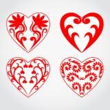 Διανυσματικό σύνολο εικονιδίων καρδιών Στοκ Εικόνες