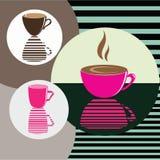 Διανυσματικό σύνολο εικονιδίων με τον καφέ Υπόβαθρο για τον καφέ Στοκ εικόνες με δικαίωμα ελεύθερης χρήσης