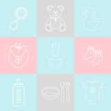 Διανυσματικό σύνολο εικονιδίων μωρών Στοκ φωτογραφία με δικαίωμα ελεύθερης χρήσης