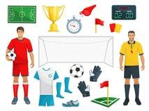 Διανυσματικό σύνολο εικονιδίων ποδοσφαίρου αθλητικού παιχνιδιού ποδοσφαίρου ελεύθερη απεικόνιση δικαιώματος
