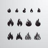 Διανυσματικό σύνολο εικονιδίων πυρκαγιάς Στοκ εικόνα με δικαίωμα ελεύθερης χρήσης