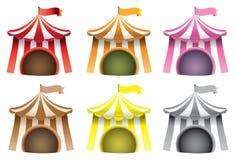 Διανυσματικό σύνολο εικονιδίων σκηνών τσίρκων διανυσματική απεικόνιση