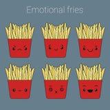 Διανυσματικό σύνολο εικονιδίων συναισθηματικών τηγανητών Στοκ Εικόνες