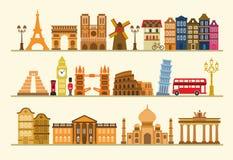 Διανυσματικό σύνολο εικονιδίων ταξιδιού χρώματος ελεύθερη απεικόνιση δικαιώματος