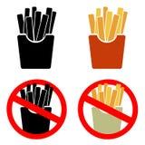Διανυσματικό σύνολο εικονιδίων τηγανιτών πατατών Στοκ φωτογραφίες με δικαίωμα ελεύθερης χρήσης