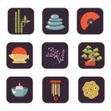 Διανυσματικό σύνολο εικονιδίων της Shui Feng Στοκ Εικόνα