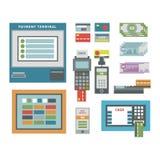 Διανυσματικό σύνολο εικονιδίων του ATM Στοκ Εικόνα