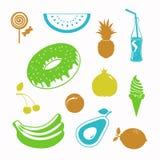 Διανυσματικό σύνολο εικονιδίων τροφίμων μαύρο Στοκ Εικόνα