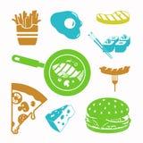 Διανυσματικό σύνολο εικονιδίων τροφίμων μαύρο Στοκ Εικόνες