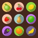 Διανυσματικό σύνολο εικονιδίων φρούτων επίπεδο Στοκ Φωτογραφία