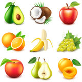 Διανυσματικό σύνολο εικονιδίων φρούτων απεικόνιση αποθεμάτων