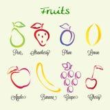 Διανυσματικό σύνολο εικονιδίων φρούτων διανυσματική απεικόνιση