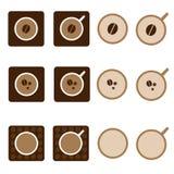 Διανυσματικό σύνολο εικονιδίων φλυτζανιών καφέ Στοκ εικόνες με δικαίωμα ελεύθερης χρήσης