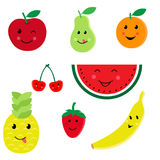 Διανυσματικό σύνολο εικονιδίων χαρακτήρων φρούτων κινούμενων σχεδίων Στοκ Εικόνες