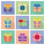 Διανυσματικό σύνολο εικονιδίων χαριτωμένων κιβωτίων δώρων Στοκ Φωτογραφίες