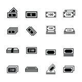 Διανυσματικό σύνολο εικονιδίων χρημάτων Στοκ Εικόνες