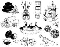 Διανυσματικό σύνολο εικονιδίων SPA σκίτσο Στοκ εικόνα με δικαίωμα ελεύθερης χρήσης