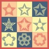 Διανυσματικό σύνολο εκλεκτής ποιότητας μονοχρωματικών αστεριών απεικόνιση αποθεμάτων