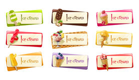 Διανυσματικό σύνολο εμβλημάτων με το παγωτό Στοκ φωτογραφίες με δικαίωμα ελεύθερης χρήσης