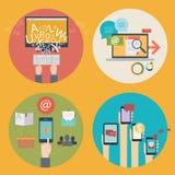 Διανυσματικό σύνολο επίπεδων εικονιδίων έννοιας σχεδίου για, σχέδιο Ιστού, seo, κοινωνικά μέσα Επιχειρησιακές έννοιες - on-line π διανυσματική απεικόνιση