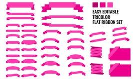 Διανυσματικό σύνολο επίπεδων, μακριών και κοντών κορδελλών εμβλημάτων tricolor, Στοκ εικόνες με δικαίωμα ελεύθερης χρήσης